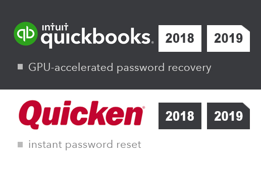 Advanced Intuit Password Recovery supports Quicken/QuickBooks 2018