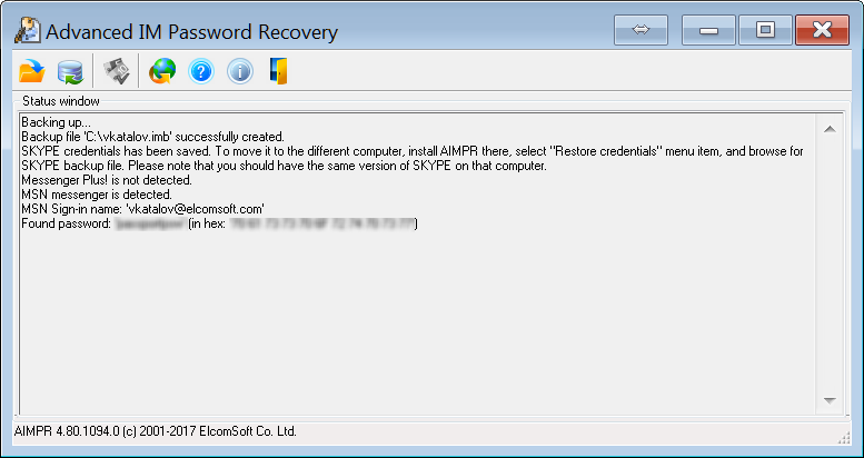 ICQ, AOL, Yahoo, MSN, Miranda, Google Talk password recovery