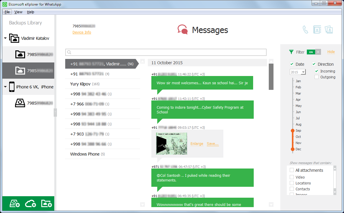 Elcomsoft eXplorer for WhatsApp Screen shot